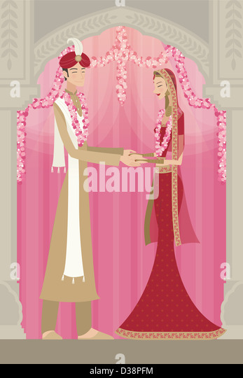 Indian bride and groom in traditional dress at wedding ceremony - Stock-Bilder