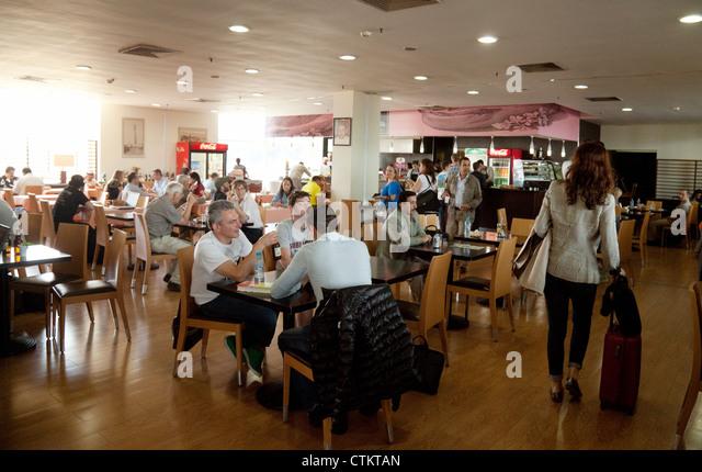 Cafe restaurant, interior, Casablanca airport terminal, Morocco Africa - Stock Image
