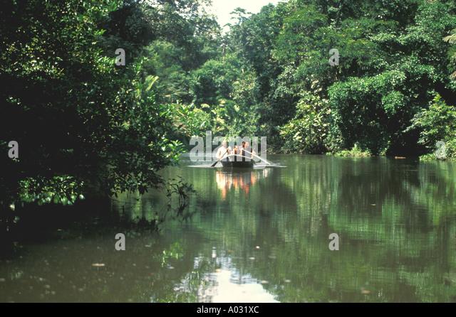 costa rica tortuguero nature tour boat on jungle river - Stock Image