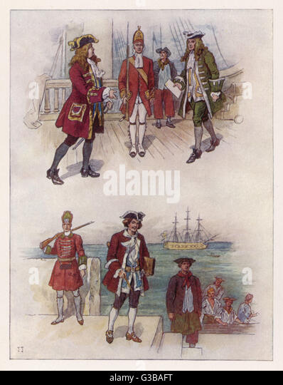 Seamen of the Royal Navy  during the first half of  the century.       Date: 1702 - 1750 - Stock Image