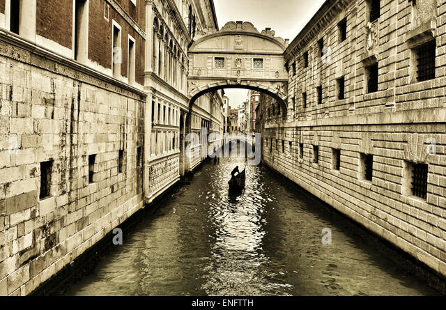 a view of the Bridge of Sighs in Venice, Italy - Stock Image