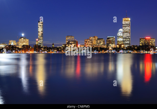 The cityscape of Back Bay Boston, Massachusetts, USA from across the Charles River. - Stock Image