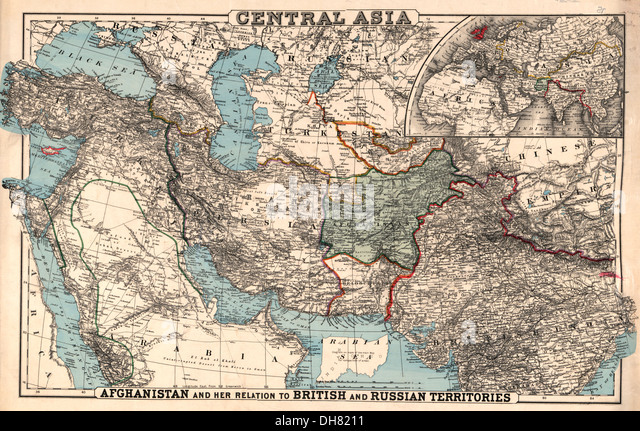 Map of Central Asia - 1885 - Stock-Bilder
