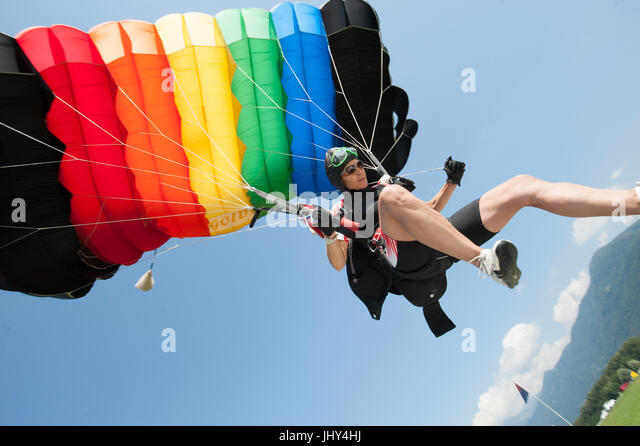 A skydiver practicing accuracy landing in Gordola, Switzerland - Stock Image