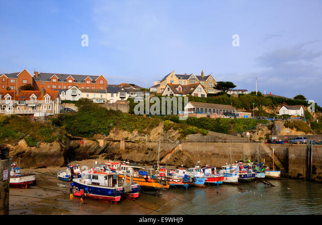 Newquay harbour Cornwall England UK with boats and houses - Stock Image