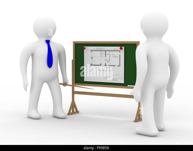 engineer at a board with the plan. Isolated 3D image - Stock Image