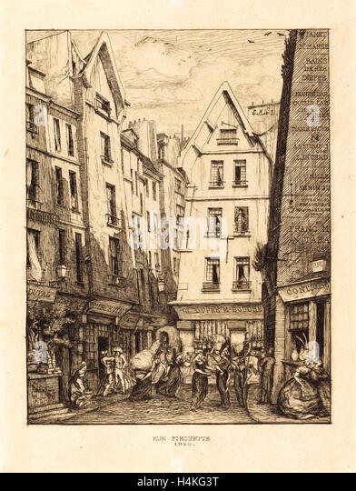 Charles Meryon, French (1821-1868), La Rue Pirouette aux halles, Paris (Pirouette Street, Near the Markets, Paris), - Stock-Bilder