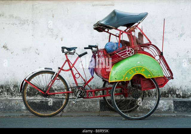 yogyakarta indonesia java becak asia travel tuktuk - Stock-Bilder