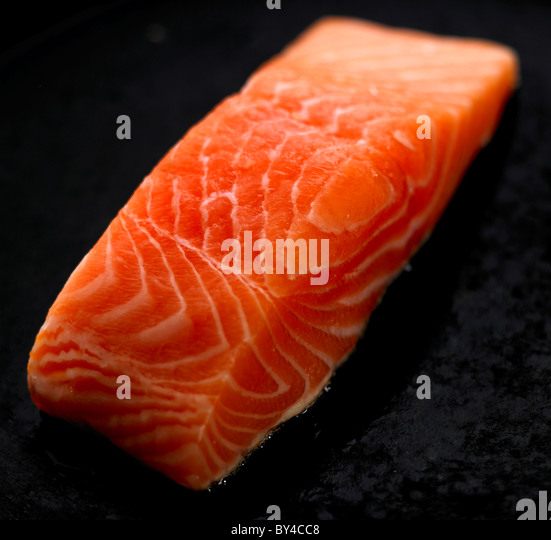 Fresh salmon fillet - Stock Image