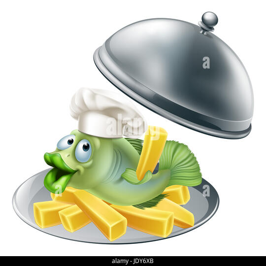 Fish N Chips Cartoon Characters : Silver food cover cloche stock photos