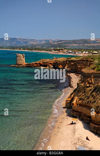 Italy Sardinia west coast beach defense tower - Stock Image