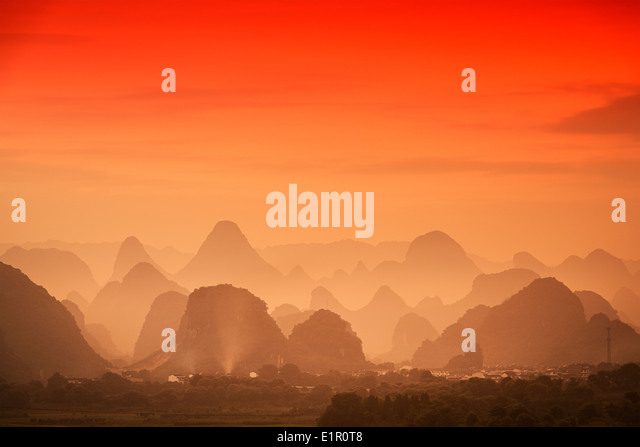 Karst Mountain Landscape in Guilin, Guangxi, China. - Stock-Bilder