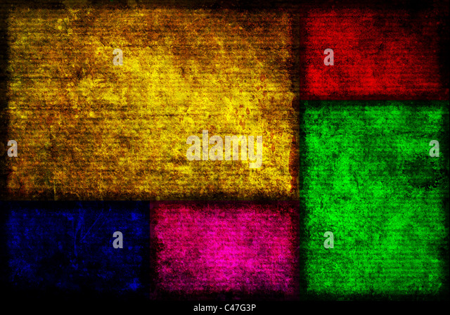 Background image of Five different colored Fibonacci boxes in a grunge style. - Stock Image