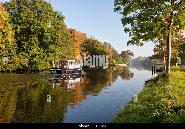 The Netherlands, Breukelen, Pleasure boat on the river Vecht. - Stock Image