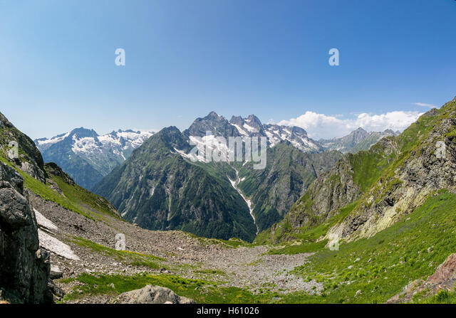 Highland pass, mountains in Abkhazia - Stock Image