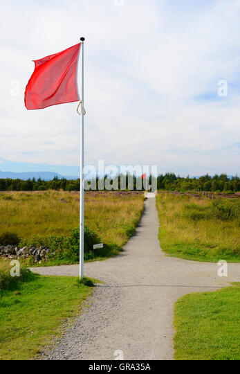 Line of flags indicating front line of Government army on Culloden Moor battlefield site, near Inverness, Highland, - Stock Image