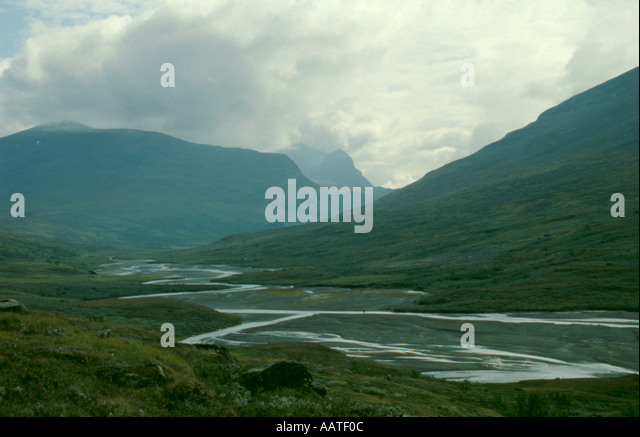 Rapadalen valley with classic braided river flowing through it, Sarek National Park, Lappland, Norrbottens Län, - Stock Image