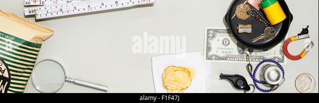 Desk still life with Potato chips - Stock-Bilder