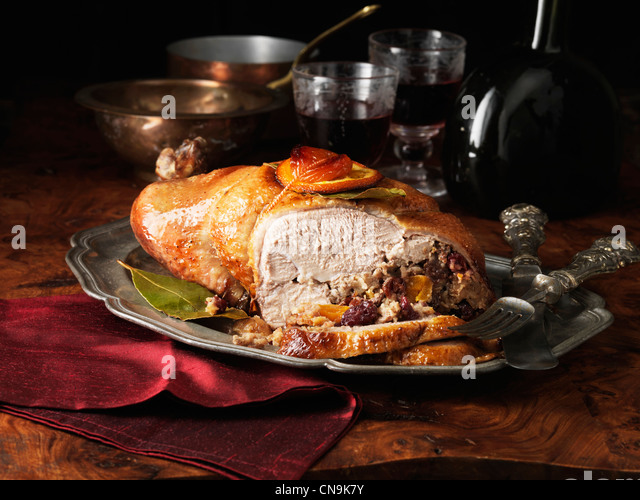Plate of stuffed duck - Stock Image