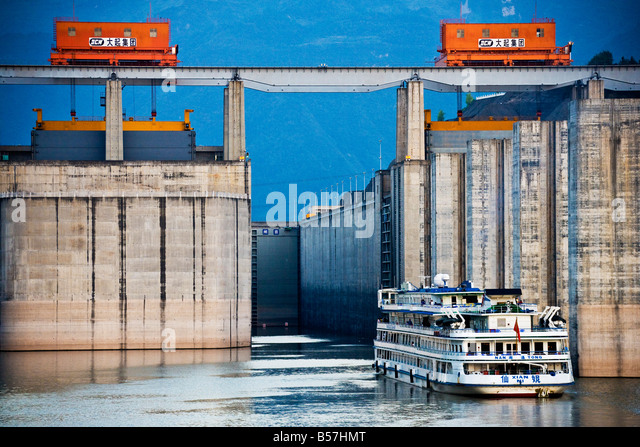 Entrance to ship Locks Three Gorges Dam Yangzi River China JMH3433 - Stock Image