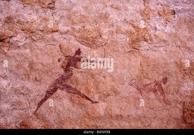 Algeria, Djanet. National Park Tassili n'Ajjer. UNESCO World Heritage site. Prehistoric rockpaintings. Sahara - Stock-Bilder