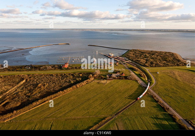 Aerial view of the East Frisian island Langeoog ferry and island railway, Langeoog Lower Saxony, northern Germany - Stock Image