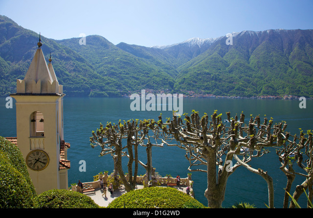 Pruned plane trees and chapel of Villa Balbianello, in spring sunshine, Lenno, Lake Como, Lombardy, Italian Lakes, - Stock Image