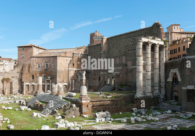 Archaeology, excavation site, ruins, Roman antiquity, Imperial Forum, Forum of Augustus, ancient Rome, Lazio, Italy - Stock Image