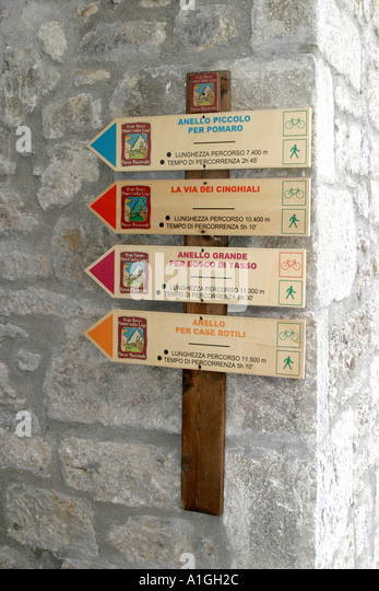 Hikers and backpackers trail sign in the Siblilini Mountains Le Marche Italy - Stock Image