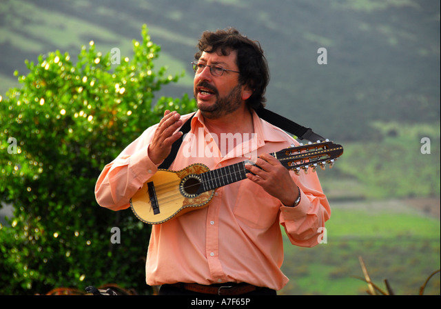 Chile wine country Colchagua Valley  musician playing guitar - Stock Image
