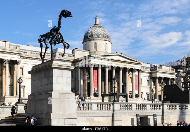 A piece of Sculpture called Gift Horse by Hans Haacke rests upon the Fourth Plinth, Trafalgar Square, London, U.K. - Stock Image