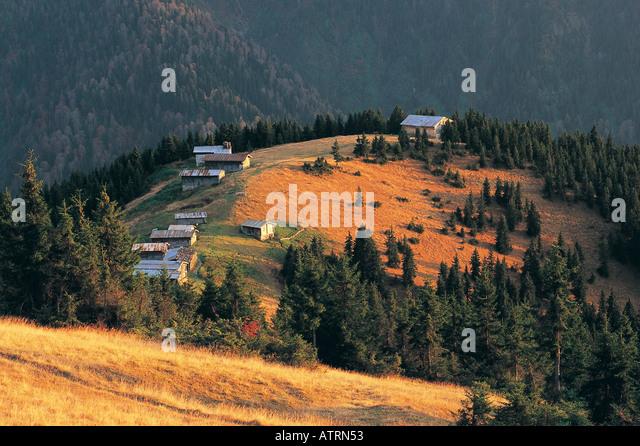 Houses in highlands of Kackar Mountains, East Black Sea, Turkey - Stock Image