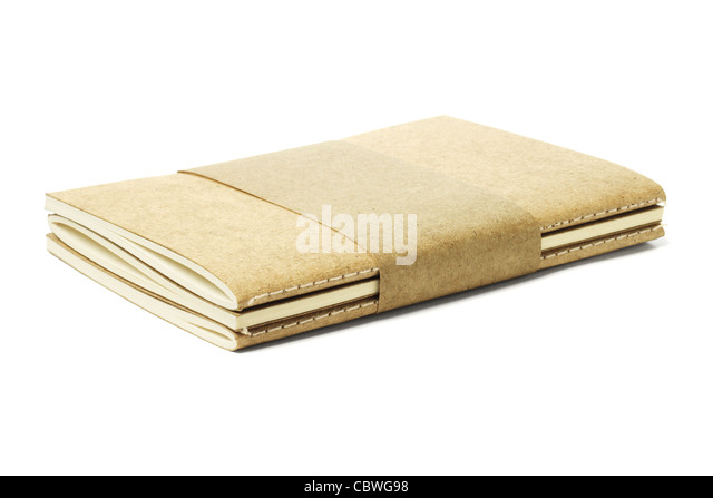 Thread Sew Book Pack of Recycled Papers on White Background - Stock Image