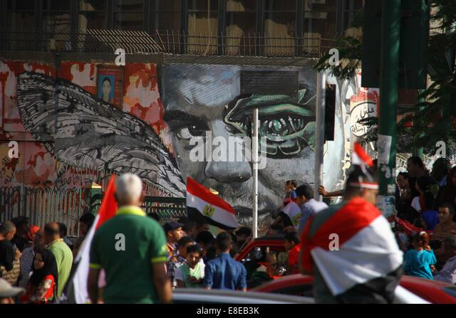 Cairo, Egypt. 6th October, 2014. Egyptians chant pro-army slogans as they celebrate the 41st anniversary of the - Stock Image