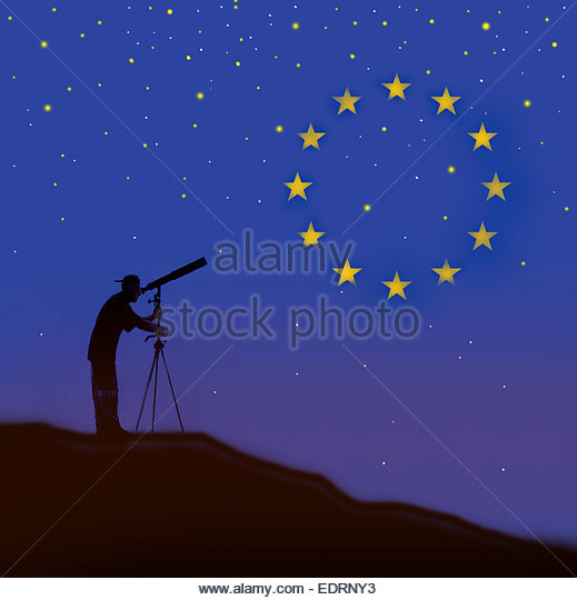 Man looking through telescope watching European Union flag constellation - Stock Image