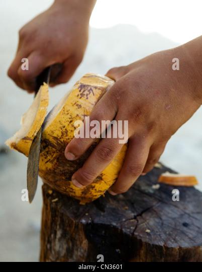 Man cutting coconut - Stock Image