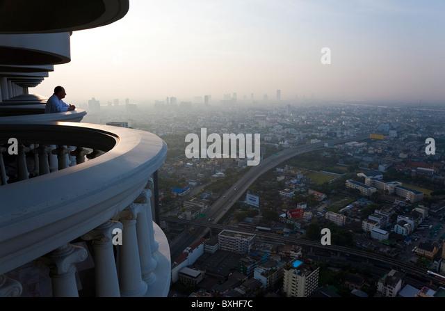 Balconies & view over Bangkok at dawn, Thailand - Stock Image