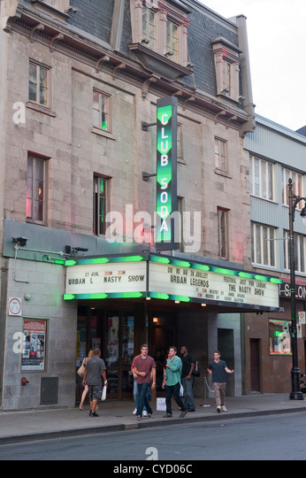 Exterior shot of the Club Soda, a music venue situated in Montreal, province of Quebec, Canada. - Stock Image