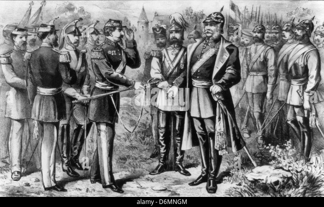 Napoleon III surrenders to king Wilhelm I of Prussia after the Battle of Sedan.  The battle was a decisive victory - Stock-Bilder
