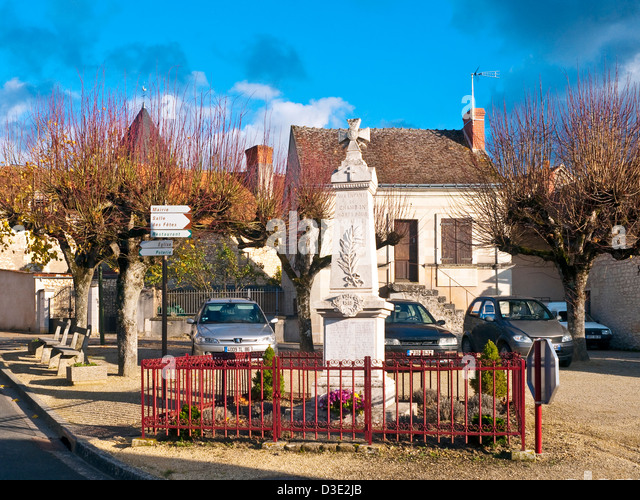 Chambon village centre and Great War memorial - France. - Stock Image