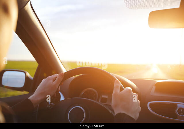 driving car on the empty road, travel background - Stock-Bilder