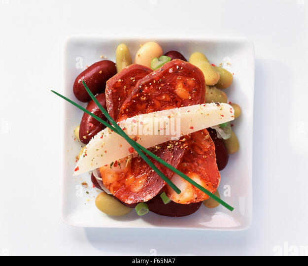 Chorizo and red bean tapas - Stock Image