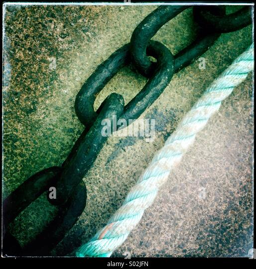 Chain and rope - Stock Image