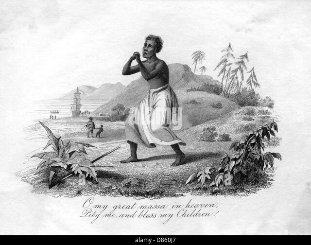 Slave Praying In The West Indies - Stock Image
