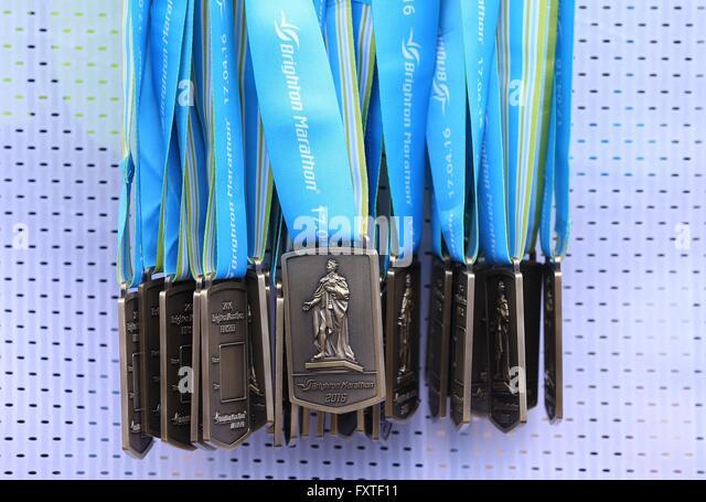 Runners take part in the 2016 Brighton Marathon. - Stock Image