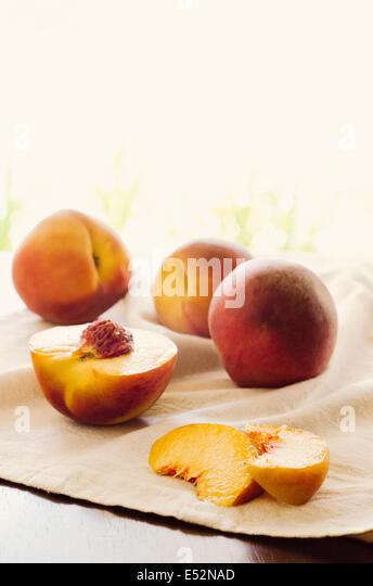 Fresh ripe peaches. - Stock Image