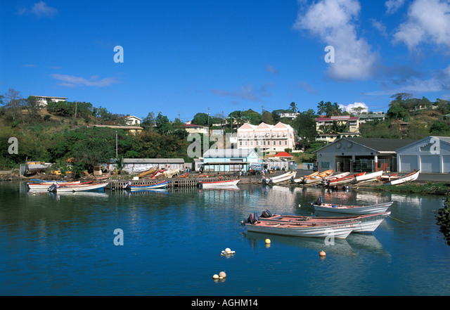St Lucia Island Caribbean Castries fishing boats shoreline buildings scenic - Stock Image