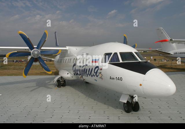 Yakutia Airlines Antonov An-140-100 at Farnborough International Airshow 2006 - Stock Image