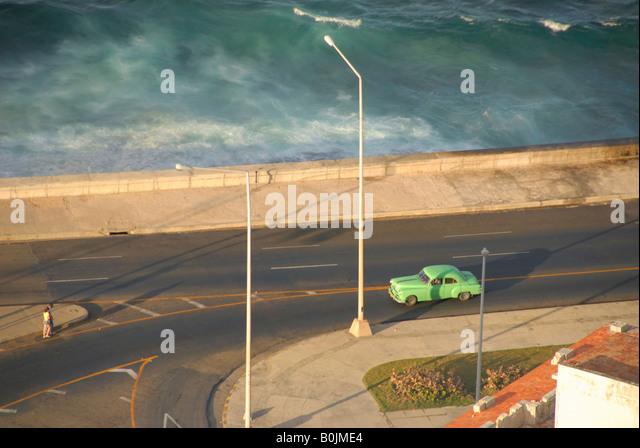 Aerial view El Malecon Havana Cuba - Stock Image