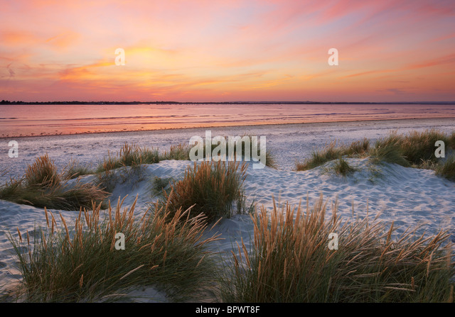 Sand dunes at East Head, West Wittering. A sand and shingle spit located at the entrance to Chichester Harbour - Stock Image